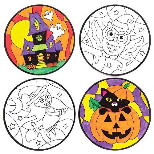 """(Baker Ross Fensterdekorationen """"Halloween"""" zum Ausmalen für Kinder – für Bastelarbeiten und Dekorationen zu Halloween (12 Stück))"""