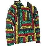 Maglione Siesta con cappuccio hippie festival colori rasta, taglie S, M, L, XL, XXL Multicoloured XL