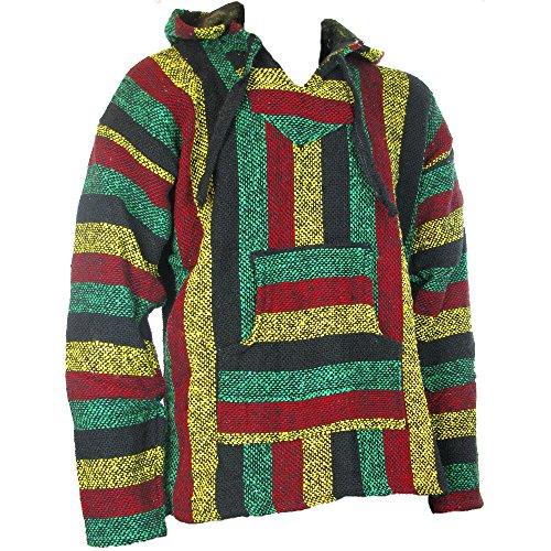 Siesta - Sudadera con capucha estilo mexicano, diseño hippy, colores rasta, Sz, M, L, XL, XXL multicolor multicolor medium