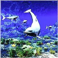 """Simone Gatterwe Designs-Sea Life, soggetto: delfini sott'acqua e pesci tropicali, squali-Tiles-20,32 cm (8"""") piastrelle di ceramica"""