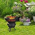 Relaxdays Grillfass Gusseisen, höhenverstellbarer Grillrost, Belüftung, Fassgrill für Holzkohle, HBT 40x45x36cm, schwarz