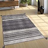 Paco Home Designer Teppich Webteppich Kelim Handgewebt 100% Baumwolle Modern Gemustert Grau, Grösse:240x340 cm