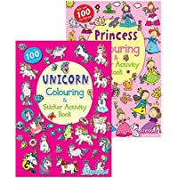 Squiggle A4 Unicorn & Princess Sticker Activity & Colouring Books - Set of 2