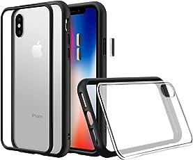 RhinoShield Modulare Schutzhülle für iPhone XS [Mod NX] | Anpassbare, stoßabsorbierende, strapazierfähige Schutzhülle - Kompatibel mit kabellosem Laden & Objektiven - Schwarze Hülle mit transparenter Backplate