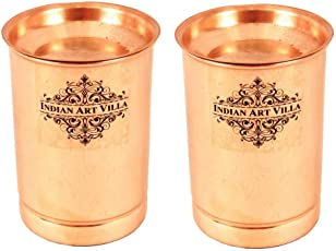 Indian Art Villa Copper Glass Tumbler Cup with Lid, Drinkware & Serveware, 300 ML, Set of 2