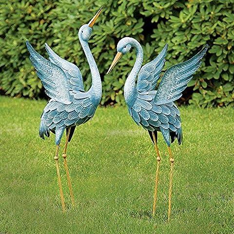 Bits and Pieces - Japanese Blue Heron Metal Garden Sculpture Set - Two Metal Cranes Perfect for Garden Décor - Metal Garden Art, Outdoor Lawn and Patio Décor, Backyard Sculpture, and