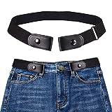 Cómodo cinturón elástico Invisible Cinturón Elástico Sin Hebilla para Hombre para Mujer de la Ajustable para Cualquier Persona de Talla (Negro)