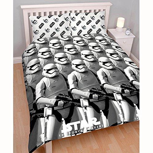 """Linen Ideas - Set per letto matrimoniale, comprensivo di copripiumino e federe, a tema """"Star Wars: Episodio 7 - Il risveglio della Forza"""", con motivo a soldati Stormtrooper"""