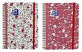 Oxford Floral–Agenda Scolaire, avec spirale 1jour par page et couvercle en plastique