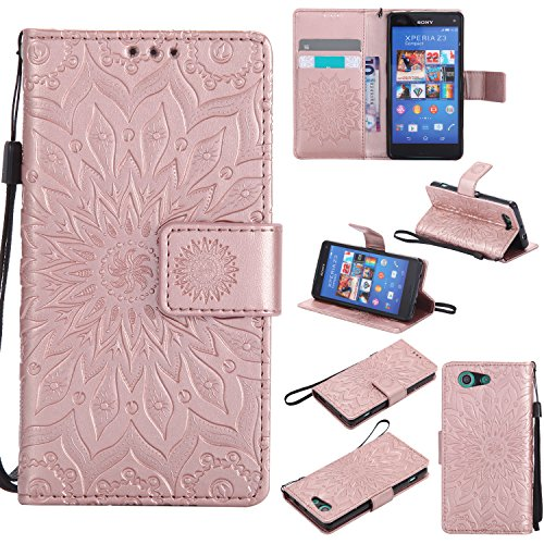 Price comparison product image For Sony Xperia Z3 Mini / Compact Case [Rose Gold], Cozy Hut [Wallet Case] Magnetic Flip Book Style Cover Case , High Quality Classic New design Sunflower Pattern Design Premium PU Leather Folding Wallet Case With [Lanyard Strap] and [Credit Card Slots] Stand Function Folio Protective Holder Perfect Fit For Sony Xperia Z3 Mini / Compact 4, 6 inch - Rose gold