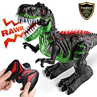 TEMI 2.4G Stunt Remote Control Dinosaur for Kids, 8 Channels Electronic RC Dino Toys Educational Walking Tyrannosaurus T-Rex Dragon with Lights and Sounds Rechargeable Battery, 360 Degree Rotation