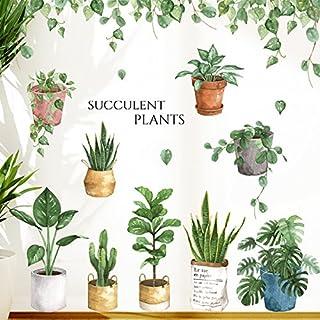 Hongrun Pflanze Aufkleber_Wall Mount Airy Wohnzimmer Schlafzimmer Viertel Selbstklebend Blumen Topfpflanzen.