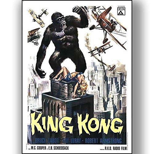 Box Prints King Kong Film Vintage Retro-Stil Poster Kunstdruck Schwarz Weiß gerahmte Bild Klein groß