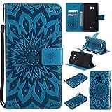 HTC U11 Hülle, COWX Handyhülle für HTC U11 Hülle Leder Flip Case Brieftasche Etui Schutzhülle für HTC U11 Tasche Cover Sonnenblume – Blau
