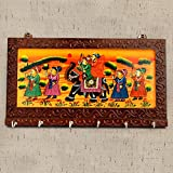 #3: Great Gifts Brown Color Wooden Rajasthani Art Work 6 Hook Hanging Key Holdey 1006