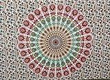 RoomyDeal Tapisserie Wandteppichen, Bohemian Stil Wandteppich Pfau Bedruckt, Traditionelle Indische Hippie Tapisserie als Bettunterlagen, Badetücher, Tischdecke und Picknick-Decke Verwendet