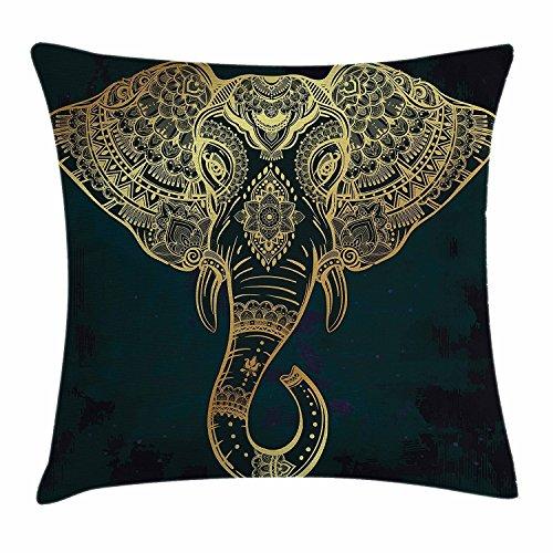 DCOCY Funda de cojín con diseño de mandala de elefante, estilo étnico tribal nativo americano, estilo hippie, decorativa, cuadrada, 45,7 x 45,7 cm, color azul oscuro y dorado