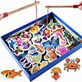 Best Travel Toys For 1 Year Old - Wooden Fishing Game 32-Piece Fishes Basic Educational Development Review