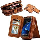 Samsung S7 edge, existentdans cuir zipper multi - fonctionnel porte - sac amovible avec un détenteur de carte de crédit magnétique organisateur brown