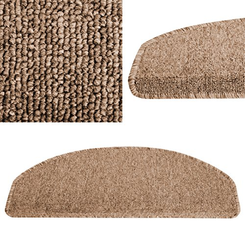 casa pura Carpet Stair Tread Mats, London, Beige Brown, 15 Piece Set (25 x 65 cm) - Multiple Colours