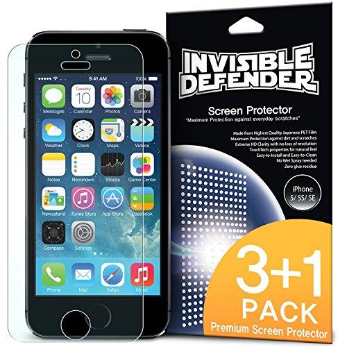 Pellicola Protettiva dello Schermo iPhone SE - Invisible Defender [3+1 Gratuite/Super-Trasparente] Premium HD Super-Trasparente Film con Sostituzione in Garanzia a vita per Apple iPhone SE 2016 / 5S 2013 / 5 2012