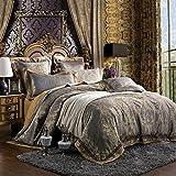Man · life Luxus Satin Jacquard Bestickt Bettwäsche-Sets Schlafzimmer Flachblech Königin Duvet Set Enthalten 1 Bettbezug 1 Flache Blatt 2 Kissenbezüge, B, 220X240Cm