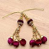 #9: Shopolics Set of 2 Golden Handmade Maroon Pom Pom Latkans with Gold pearls-0021,Ethnic Hanging, Decorative Latkan