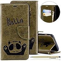 Herbests Handytasche für Samsung Galaxy A8 2018 Lederhülle Niedlich 3D Panda Muster Flip Case Cover Hülle Leder Klapphülle Leder Tasche im Bookstyle Handyhülle Brieftasche Schutzhülle,Grün