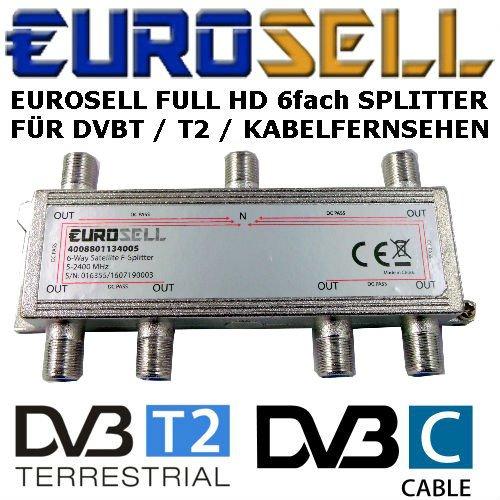 Eurosell - Digitaler 6-fach SAT Antennen Kabel TV BK Verteiler Splitter HDTV 6fach F Verteiler Fernsehen Fernseher Full HD Switch 6er sechser sechsfach Weiche Umschalter F-Stecker Stammleitungsverteiler -