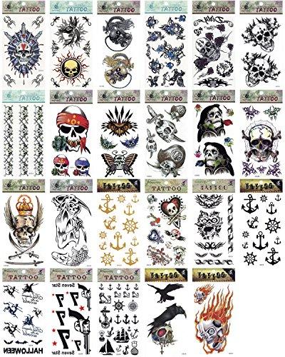 Motive: Totenkopf, Pirat, Rad, Anker, Sensenmann, Feuer, geeignet für Kostüme, Halloween, Körperkunst, Make-up, 5 Stück (Kostüm, Halloween-make-up)