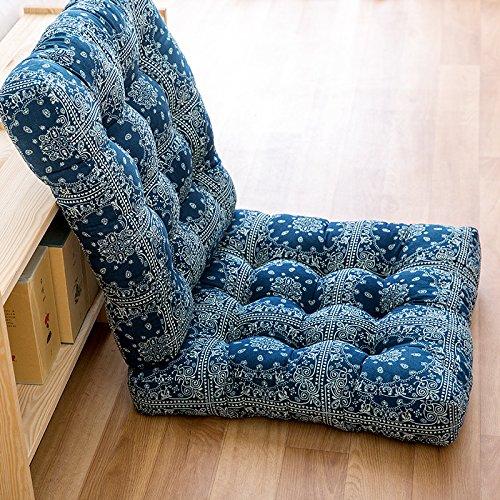WDZA Verdickte Kissen Runde Yoga, Baumwolle Sitzkissen 2 Stück, 50 X 50 Cm, Blau