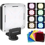 Neewer 12 SMD LED-lampa mini fickstorlek på kamera LED-videolampa med inbyggt batteri/USB-laddning/hot shoe-adapter och 8-pac