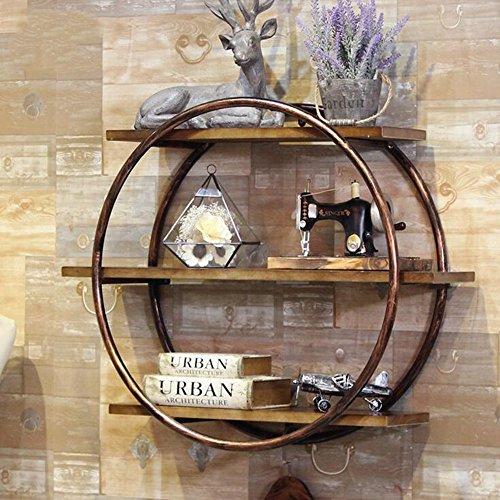 Mensole duo scaffale in ferro decorazione per parete espositore rotondo libreria in legno massello scaffali (colore : bronzo)