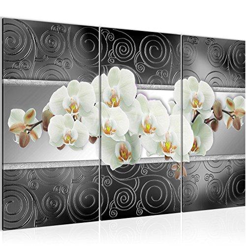 Photo Fleurs d'orchidée Décoration Murale 120 x 80 cm Toison - Toile Taille XXL Salon Appartement Décoration Photos d'art Gris 3 Parties - 100% MADE IN GERMANY - prêt à accrocher 204831c