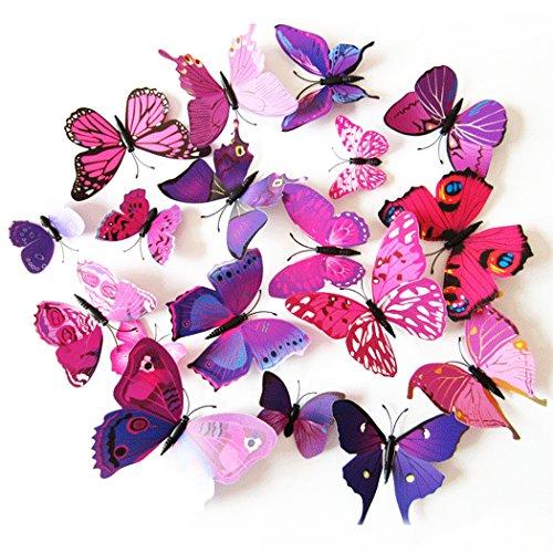 Tinksky, magnete per frigorifero, 3D, farfalla, confezione da 24