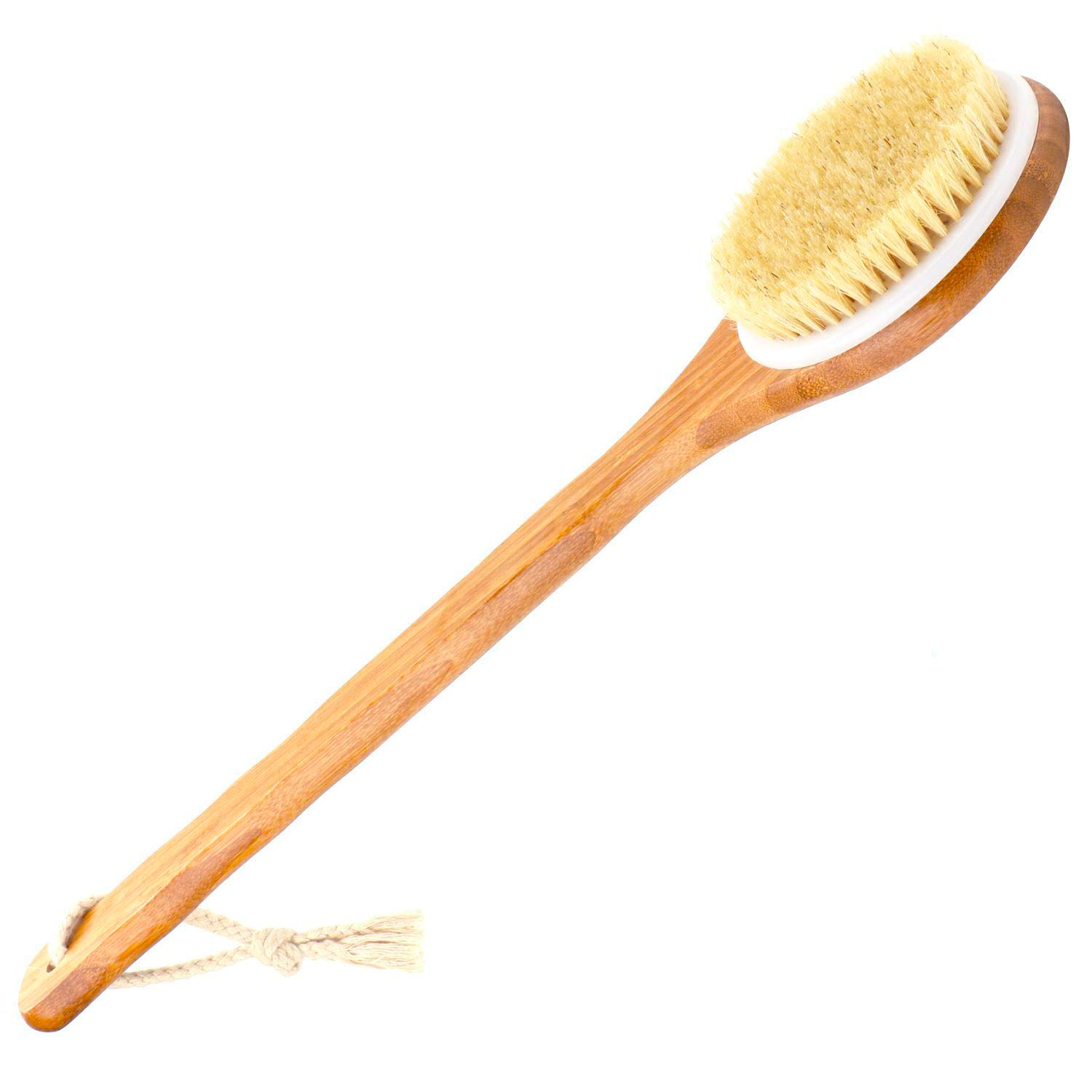 Body Brush Back Scrubber with Long Skin Bamboo Handle Natural Bristle Exfoliating Skin, Improve Circulation and Skin Health – Best Shower Tools