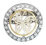 Anillo oro blanco 585bicolor mariposa con incrustaciones de anillo para mujer RW 55hobra de oro