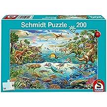 Schmidt Spiele Puzzle 56253descubre los dinosaurios, niño rompecabezas, 200piezas
