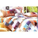 155x200 orange blau weiß mehrfarbig Bettwäsche Bettbezüge Bettwäschegarnituren 100% Baumwollsatin Blumenmuster 127