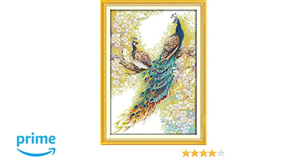 STAMPED Two Peacocks CaptainCrafts Hot New Releases Cross Stitch Kits Patterns Embroidery Kit