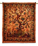 Tree of Life Tapestry Wall Art Hanging Orange Handmade Bedsheet/ Cover Decora...