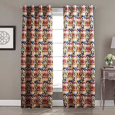 IYUEGO Contemporary Abstract Gypsy Bohemian Style Multi Color Floral Grommet Top Lined Blackout Curtains Draperies With Multi Size Custom 50