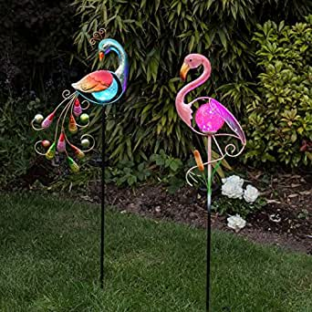 paon et flamant rose lumineux en m tal d coration led solaire pour le jardin pile. Black Bedroom Furniture Sets. Home Design Ideas