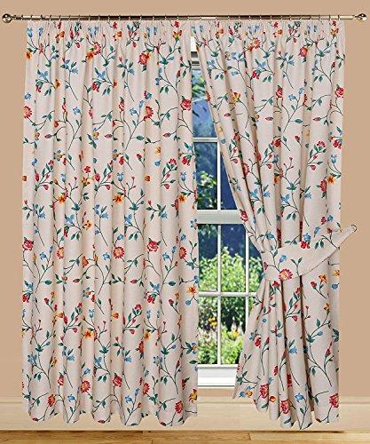 Bemode stampato floreale tende con nastro intestazione, poliestere-cotone, multicolore, 182x 168x 0.3cm