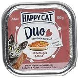 Happy Cat Pate auf Häppchen Geflügel & Rind, 12er Pack (12 x 100 g)