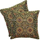 DK Homewares Brokat Indianer Schwarz Couch Kissenbezüge 16 x 16 Brokat Jacquard Mandala Floral Platz Dekokissen Covers 40x40cm Wohnkultur 2er Set