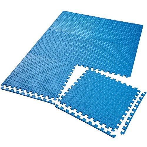 TecTake Schutzmattenset Bodenschutzmatte | Rutschfest, schmutzabweisend | erweiterbares Stecksystem | Diverse Modelle (6X blau | Nr. 402656)