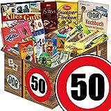 Geschenk zum 50. Geburtstag | Schokolade Geschenk Geburtstag | mit Zetti Edel Bitter, Halloren Kugeln und mehr | GRATIS DDR Kochbuch | Schokoladen Box