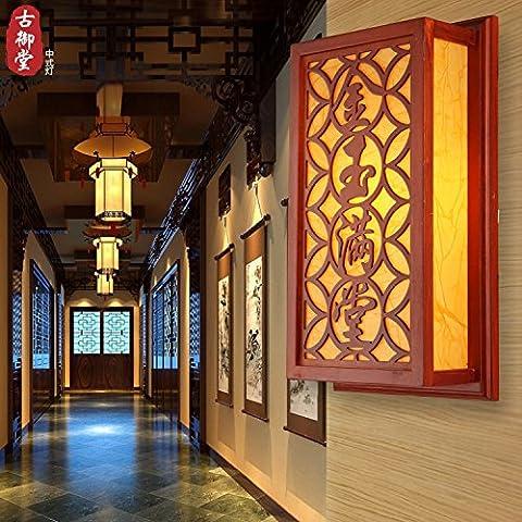 XiangMing Lámpara de pared de madera clásico chino vitela Happy Ever After salón restaurante dormitorio pasillo Lámpara Hotel