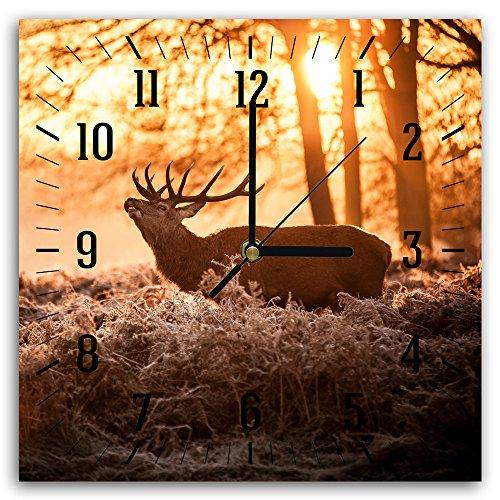 Feeby, Wanduhr, mehrfarbige Deco Panel Bild mit Uhr, 30x30 cm, HIRSCH, TIER, BAUM, SONNENUNTERGANG, GRAS, BRAUN